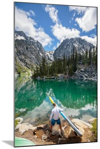 Man Paddle Boards Using Inflatable SUP, Colchuck Lake Alpine Lakes Wilderness Of The Cascade Range-Ben Herndon-Mounted Photographic Print