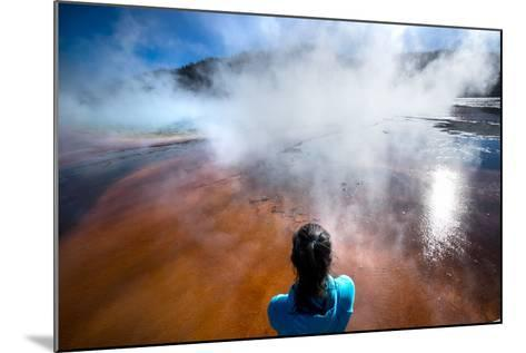 A Woman Takes In The Misty View Of The Grand Prismatic Spring In Yellowstone NP In Autumn-Ben Herndon-Mounted Photographic Print