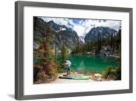 Man Paddle Boards Using Inflatable SUP, Colchuck Lake Alpine Lakes Wilderness Of The Cascade Range-Ben Herndon-Framed Art Print