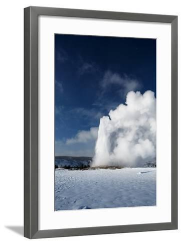 A Steamy Old Faithful In Winter In Yellowstone National Park-Ben Herndon-Framed Art Print