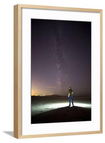 Under Milky Way In Playa Of Great Salt Lake At Antelope Island SP, Outside Of Salt Lake City, Utah-Austin Cronnelly-Framed Art Print