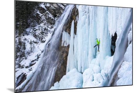 Jess Roskelley Climbing Flowing Waterfalls At The Junkyard, Ice Climbing Crag Near Canmore, Alberta-Ben Herndon-Mounted Photographic Print