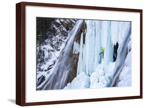 Jess Roskelley Climbing Flowing Waterfalls At The Junkyard, Ice Climbing Crag Near Canmore, Alberta-Ben Herndon-Framed Art Print