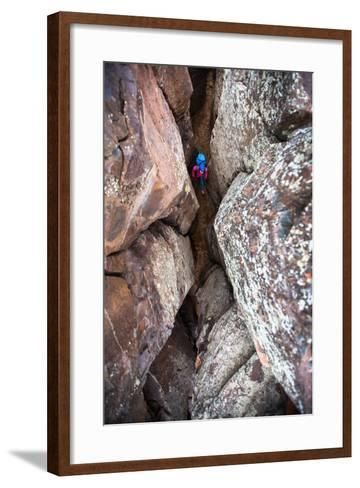 Corridor Of Basalt Columns Called The Dog Filter, Frenchman-Coulee Climbing Area Near Vantage, WA-Ben Herndon-Framed Art Print