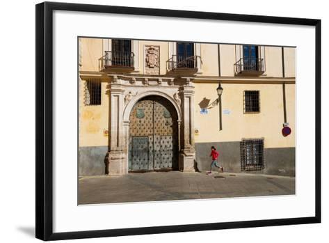 Bekah Herndon Goes For A Run In The Colorful Medieval Old Town Section Of Cuenca, Spain-Ben Herndon-Framed Art Print