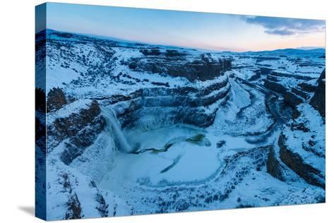 Frozen Amphitheatre Of 187-Ft Palouse Falls, SE Washington During Rare Zero-Degree, Winter Cold-Ben Herndon-Stretched Canvas Print