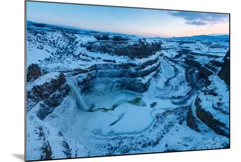Frozen Amphitheatre Of 187-Ft Palouse Falls, SE Washington During Rare Zero-Degree, Winter Cold-Ben Herndon-Mounted Photographic Print
