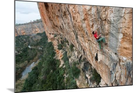 A Man Rock Climbs In The Beautiful Limestone Canyons Of Chulilla, Spain-Ben Herndon-Mounted Photographic Print