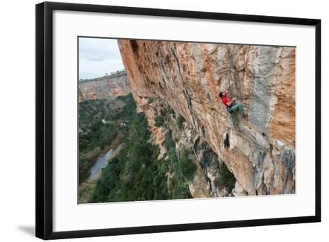 A Man Rock Climbs In The Beautiful Limestone Canyons Of Chulilla, Spain-Ben Herndon-Framed Art Print
