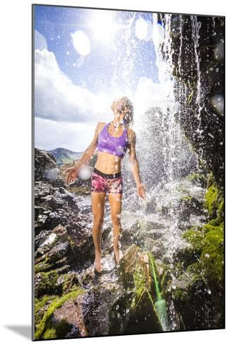 Mayan Smith-Gobat Seeks Refreshment From A Waterfall In The High Rockies Above Marble, Colorado-Dan Holz-Mounted Photographic Print