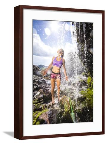 Mayan Smith-Gobat Seeks Refreshment From A Waterfall In The High Rockies Above Marble, Colorado-Dan Holz-Framed Art Print
