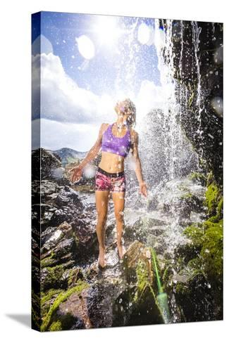 Mayan Smith-Gobat Seeks Refreshment From A Waterfall In The High Rockies Above Marble, Colorado-Dan Holz-Stretched Canvas Print