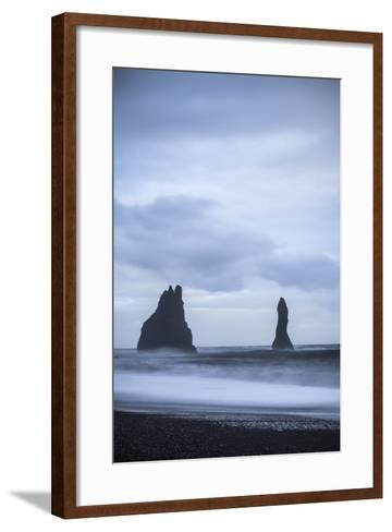 Sea Stacks At Reynisdrangar At Dusk. Vik. Iceland-Oscar Dominguez-Framed Art Print