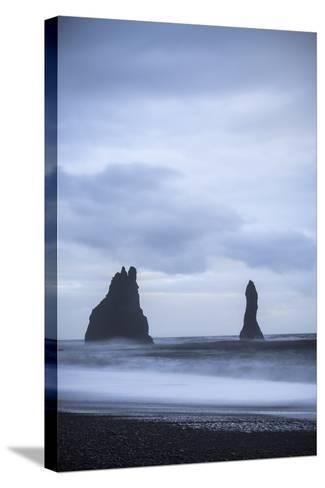 Sea Stacks At Reynisdrangar At Dusk. Vik. Iceland-Oscar Dominguez-Stretched Canvas Print