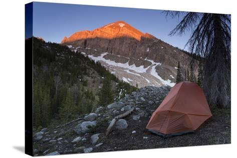Backpacking Tent Under Evening Light Hitting A Gros Ventre Mt Peak, Gros Ventre Wilderness, Wyoming-Mike Cavaroc-Stretched Canvas Print