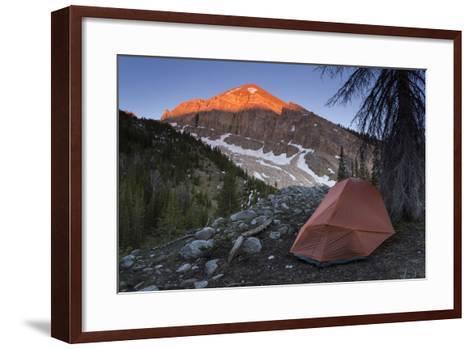 Backpacking Tent Under Evening Light Hitting A Gros Ventre Mt Peak, Gros Ventre Wilderness, Wyoming-Mike Cavaroc-Framed Art Print