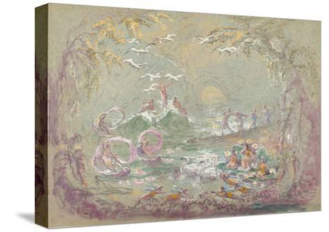 Lake Scene with Fairies and Swans-Robert Caney-Stretched Canvas Print
