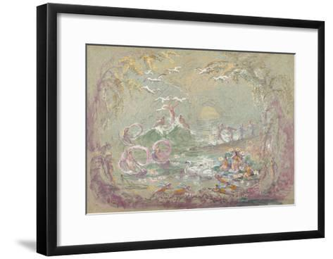 Lake Scene with Fairies and Swans-Robert Caney-Framed Art Print