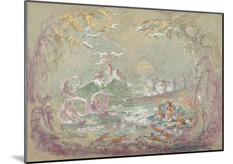 Lake Scene with Fairies and Swans-Robert Caney-Mounted Giclee Print