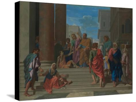 Saints Peter and John Healing the Lame Man, 1655-Nicolas Poussin-Stretched Canvas Print