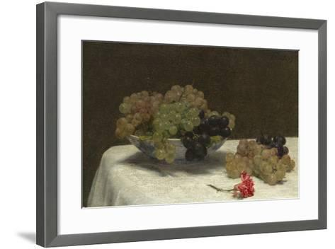 Still Life with Grapes and a Carnation, c.1880-Ignace Henri Jean Fantin-Latour-Framed Art Print
