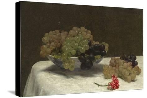 Still Life with Grapes and a Carnation, c.1880-Ignace Henri Jean Fantin-Latour-Stretched Canvas Print