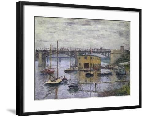 Bridge at Argenteuil on a Gray Day, c.1876-Claude Monet-Framed Art Print