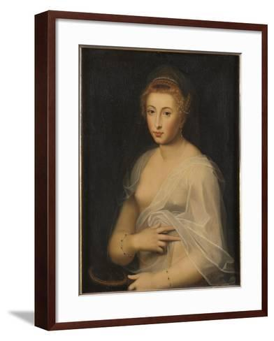 Young Lady Holding a Mirror-French School-Framed Art Print