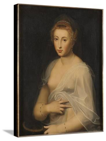 Young Lady Holding a Mirror-French School-Stretched Canvas Print