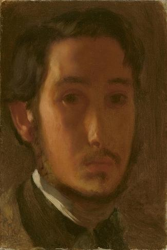 Self-Portrait with White Collar, c.1857-Edgar Degas-Stretched Canvas Print