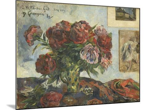 Still Life with Peonies, 1884-Paul Gauguin-Mounted Giclee Print