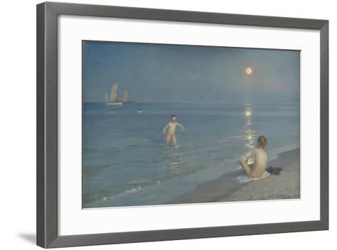 Boys Bathing at Skagen. Summer Evening, 1899-Peder Severin Kroyer-Framed Art Print