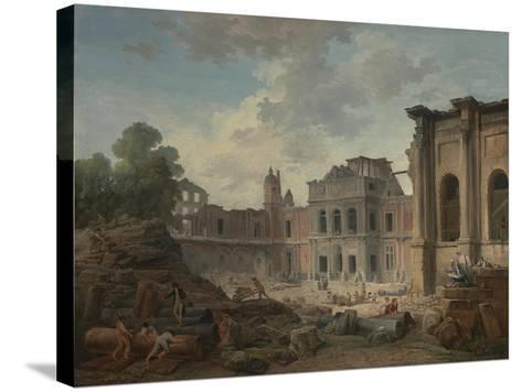 Demolition of the Chateau of Meudon, 1806-Hubert Robert-Stretched Canvas Print