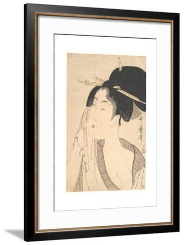 Woman Relaxing after Her Bath, 1790s-Kitagawa Utamaro-Framed Art Print