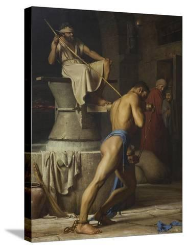 Samson and the Philistines, 1863-Carl Bloch-Stretched Canvas Print