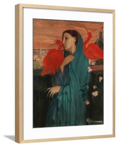 Young Woman with Ibis, 1860-62-Edgar Degas-Framed Art Print