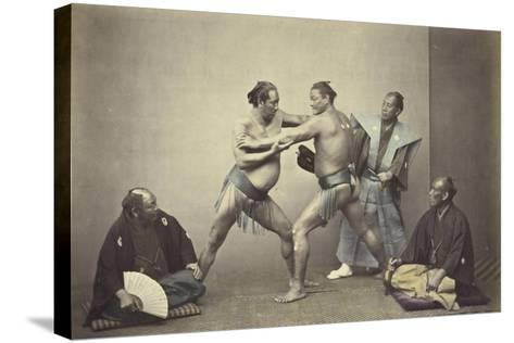 Representatives of Nio, the Japanese Hercules, 1866-7-Felice Beato-Stretched Canvas Print