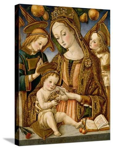 Madonna and Child with Two Angels, c.1481-82-Vittorio, Crivelli-Stretched Canvas Print