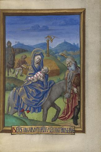 The Flight into Egypt from a Book of Hours Ms. 48 fol. 67, c.1480-90-Georges Trubert-Stretched Canvas Print