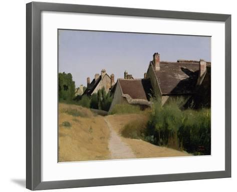 Houses near Orléans. c.1830-Jean-Baptiste-Camille Corot-Framed Art Print