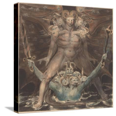 The Great Red Dragon and the Beast from the Sea, c.1805-William Blake-Stretched Canvas Print