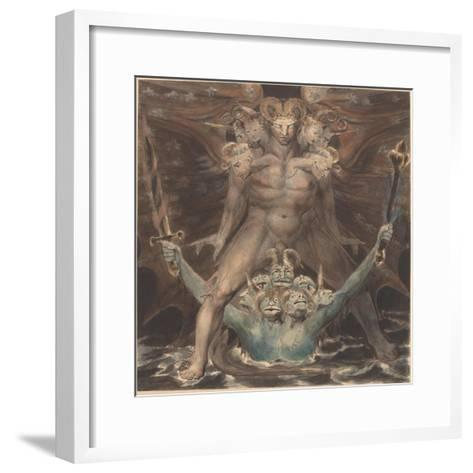 The Great Red Dragon and the Beast from the Sea, c.1805-William Blake-Framed Art Print