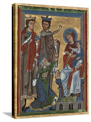Adoration of the Magi from Psalter Ms 4, c.1240-German School-Stretched Canvas Print