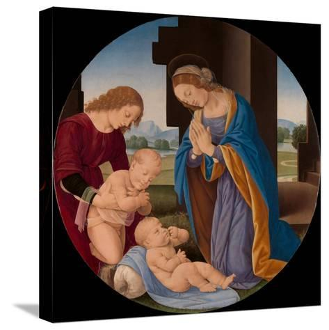 Madonna Adoring the Child with the Infant Saint John the Baptist and an Angel, c.1492-Lorenzo di Credi-Stretched Canvas Print