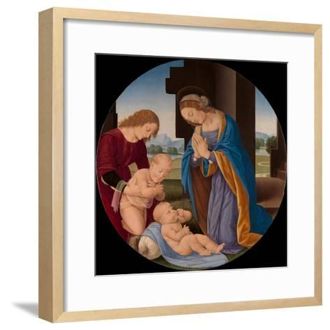 Madonna Adoring the Child with the Infant Saint John the Baptist and an Angel, c.1492-Lorenzo di Credi-Framed Art Print