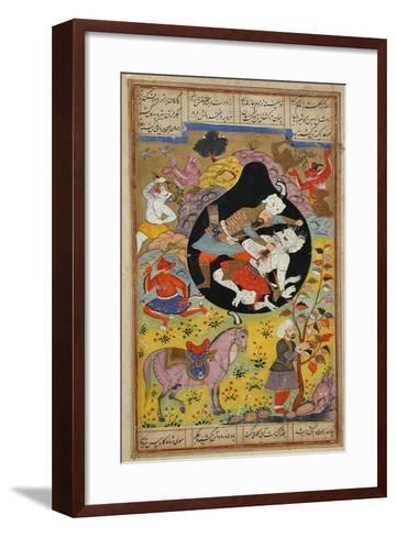 Rustam Slays the White Div, 1608-Mughal School-Framed Art Print