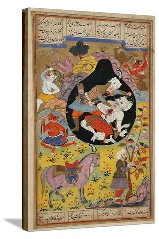 Rustam Slays the White Div, 1608-Mughal School-Stretched Canvas Print