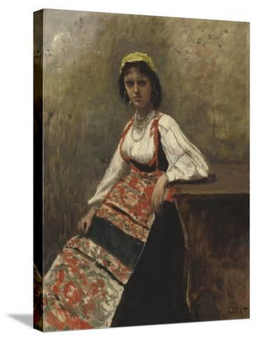 Italian Girl, c.1872-Jean-Baptiste-Camille Corot-Stretched Canvas Print
