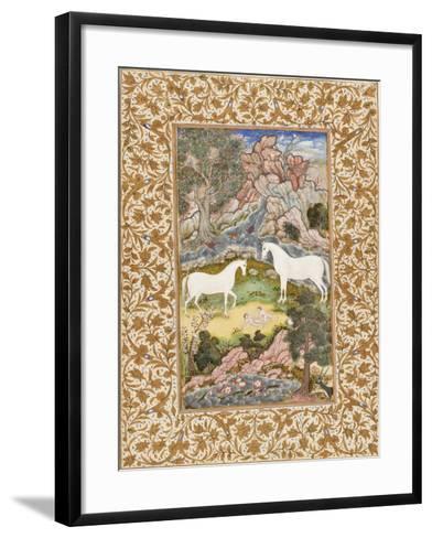 Birth of the Celestial Twins, c.1585-90-Mughal School-Framed Art Print