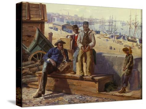 Negro Boys on the Quayside, c.1865-David Norslup-Stretched Canvas Print
